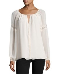 Max Studio Lace Inset Georgette Top Cream