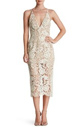 Women's Dress The Population 'Marie' Lace Midi Dress White Nude