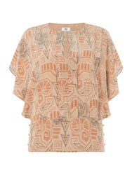 Noa Noa Silk Blouse With Ethnic Print Nude