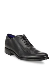 Cole Haan Laser Cut Wingtip Leather Oxfords Black