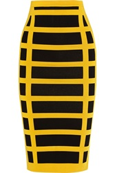 Balmain Checked Stretch Knit Pencil Skirt Yellow