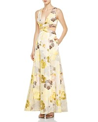 Abs By Allen Schwartz V Neck Floral Print Gown Multi