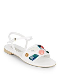 Stella Mccartney Beaded Open Toe Sandals White Multi