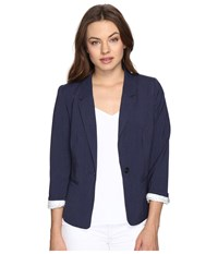 Kensie Heather Stretch Crepe Blazer Ks2k2s54 Heather Navy Women's Jacket