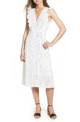 Lost Wander Dottie Ruffle Midi Wrap Dress