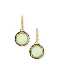 Armenta Old World Midnight Scalloped Chalcedony Drop Earrings