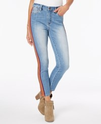 Dollhouse Juniors' Side Stripe Skinny Jeans Red And Yellow Stripe