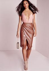 Missguided Faux Leather Wrap Midi Skirt Tan Brown