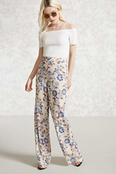 Forever 21 Floral Palazzo Pants Cream