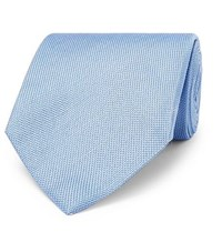 Tom Ford 8Cm Silk And Linen Blend Jacquard Tie Blue