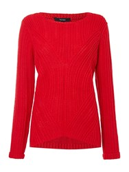 Therapy Rib Detail Cable Jumper Red