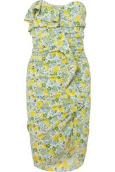 Veronica Beard Ruffled Floral Print Silk Blend Georgette Midi Dress Yellow