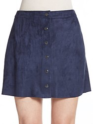 Saks Fifth Avenue Red Sueded Snap Front Miniskirt Navy