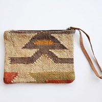 Boho Gypsy Malah Wool Kilim Clutch And Wristlet
