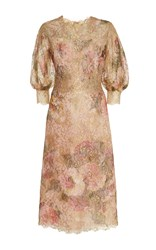 Marchesa Floral Printed Lace Dress Gold