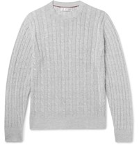 Brunello Cucinelli Cable Knit Linen And Cotton Blend Sweater Light Gray