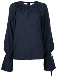 Cityshop Gathered Neck Long Sleeve Blouse Women Cotton Cupro One Size Blue