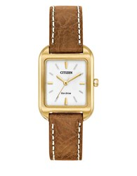 Citizen Eco Drive Leather Band Analog Watch Brown