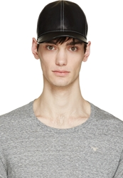 Marc Jacobs Black Leather Baseball Cap