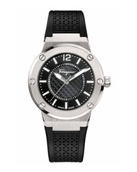 Salvatore Ferragamo 33Mm F 80 Watch W Rubber Strap Black