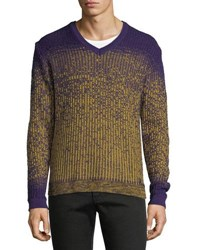 Versace Ombre Knit V Neck Wool Sweater Purple