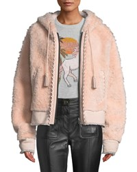 Coach Zip Front Shearling Hoodie With Leather Trim Pink