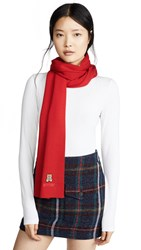 Moschino Bear Patch Scarf Red