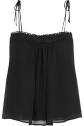 See By Chloe Guipure Lace Trimmed Silk Chiffon Camisole Black