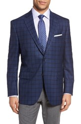 Peter Millar Men's Big And Tall Classic Fit Plaid Wool Sport Coat Medium Blue