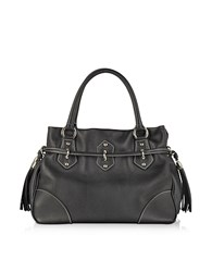 Buti Black Leather Shoulder Bag W Tassels