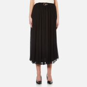 Kenzo Women's Pleated Poly Chiffon Midi Skirt Black