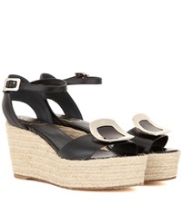Roger Vivier Corda Chips Leather Espadrille Wedge Sandals Black