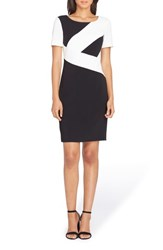 Tahari 'S Colorblock Sheath Dress Black Ivory