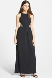 Whitney Eve 'Ipanema' Open Back Maxi Dress Juniors Black