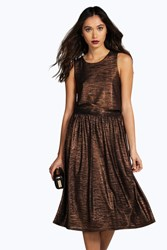 Boohoo Metallic Pleat Midi Skirt Co Ord Set Bronze