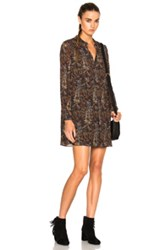 Saint Laurent Paisley Vintage Dress In Brown Abstract Brown Abstract