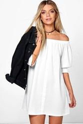Boohoo Off The Shoulder Button Shift Dress White