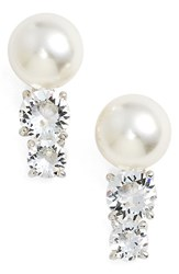 Nadri Women's Faux Pearl Stud Earrings Silver