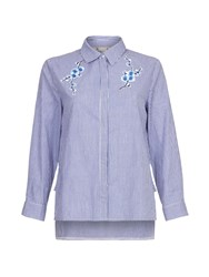 Yumi Floral Embroidery Stripe Top Blue
