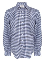 Thomas Pink Men's Wallace Check Classic Fit Button Cuff Navy