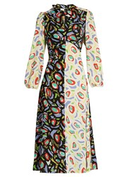 Duro Olowu Abstract Bird Print Tie Neck Crepe Dress White Multi
