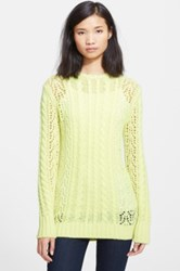Equipment 'Amber' Cable Knit Openwork Sweater Yellow