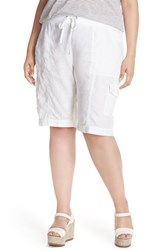 Eileen Fisher Plus Size Women's Organic Linen Drawstring Waist Cargo Shorts White