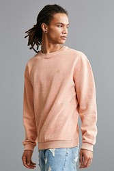 Urban Outfitters Uo Stockton Embroidered Fleece Crew Neck Sweatshirt Coral