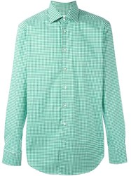 Etro Checked Button Down Shirt Green