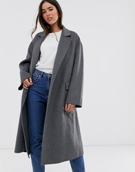 French Connection Belted Wrap Coat Gray