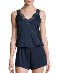 Hanro Livia Lace Trimmed Romper Nightie Navy