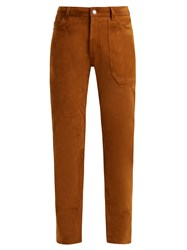 Saint Laurent High Rise Slim Leg Suede Trousers Brown