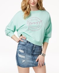 Guess Logo Graphic Sweatshirt Heather Green Abyss