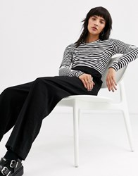 Weekday Striped Long Sleeve Tee In Black And White